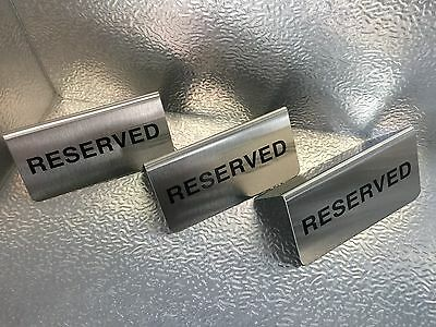 "''RESERVED"" Table Sign X 3 Stainless Steel"