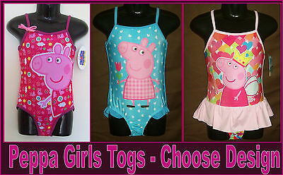 PEPPA PIG TOGS Sz 2 4 6 or 8 Gorgeous Pink or Blue GIRLS BATHERS Swimwear - NEW