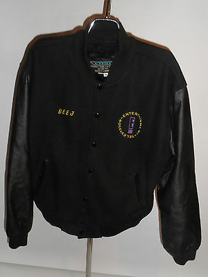 Entertainment Television Crew Varsity Jacket! Wool! Leather Sleeves! E Tv! Usa-M