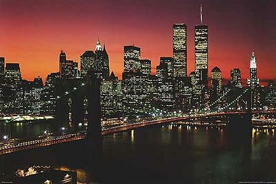 New York City Brooklyn Bridge Skyline Sunset Art Print Poster 24X36 (61X91.5cm)