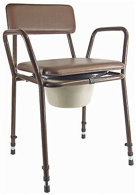 Essex Stacking Commode Aid - Height Adjustable With Padded Seat And Backrest