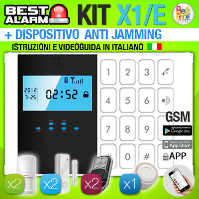 ANTIFURTO KIT X1E ALLARME CASA WIRELESS 433 Mhz COMBINATORE GSM  ANTIJAMMING