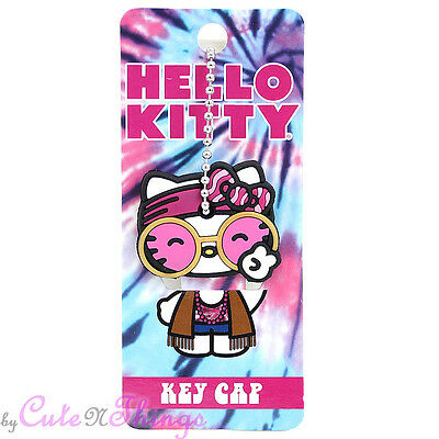 Hello Kitty Hippie Key Cap  Rubber Face Cut Peace Key Holder by Lougefly