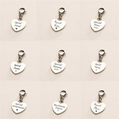 Engraved Heart Charm on Lobster Clasp, Jewellery Engraving, Personalised Gifts