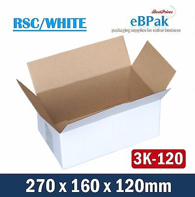 100 White Regular 270x160x120mm Mailing Box fit Australia POST 3KG Satchel Bag