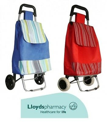 High Quality Lightweight Pink & Blue Wheeled Shopping Trolley Grocery Bag Cart