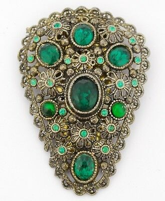 Antique Dress Clip Faux Emeralds in Baroque Flowered Setting