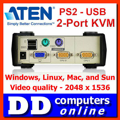 Aten CS82U 2 Port PS2-USB KVM Switch, Windows/ Linux/ Mac/Sun, 2048 x 1536 Video