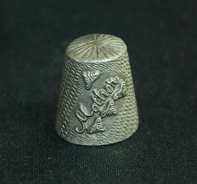 Collectible Pewter Happy Mothers Day Mother 1982 Spoontiques Thimble Great Gift!