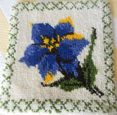 Vintage Completed Latch Hook Tapestry Cushion Front Blue And Yellow Flower