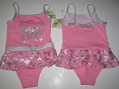 NWT Penelope Mack 2T Toddler Girls Beach 1 Pc Swimsuit Pink Silver Butterfly