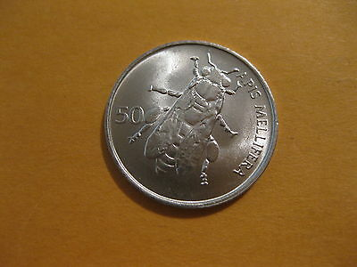 "1992 Slovenia Coin 50 Stotinov  ""BEE""  uncirculated beauty,  animal coin"
