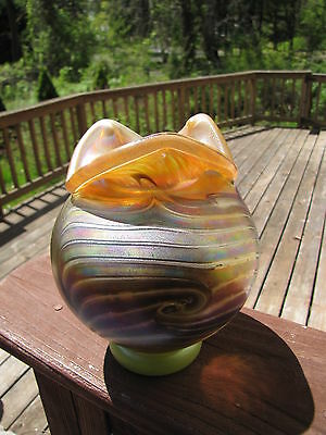 Vintage Favrile? Iridescent Hand Blown Vase 1980's Signed Ge.Matts