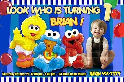 ELMO SESAME STREET BIRTHDAY PARTY INVITATION PHOTO 1ST BABY- BABIES FIRST C8 2nd