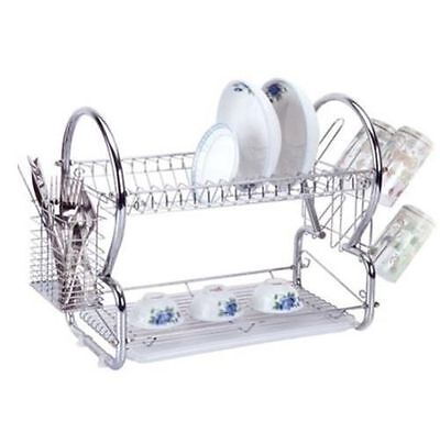 2 Tier Chrome Dish Drainer Plates Rack & Glass Holder, Eassy to Assemble