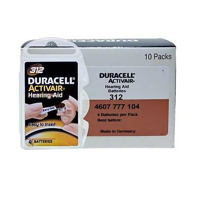 Duracell Activair Hearing Aid Batteries Size 312 (40 cells total) - FRESH 2017