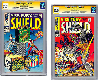 Nick Fury Agent Of Shield #1-2 Cgc Ss 7.0-8.0 Signed By Artist Jim Steranko 1968