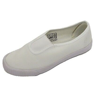 Childrens Boys Girls White Canvas Plimsoll Pumps School Pe Trainers Shoes Uk 7-5