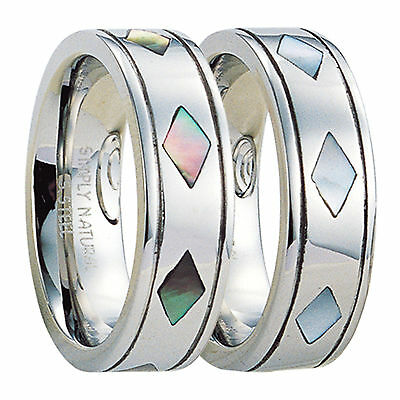 Stainless Steel Ring with Diamond Shaped Mother Of Pearl Inlays