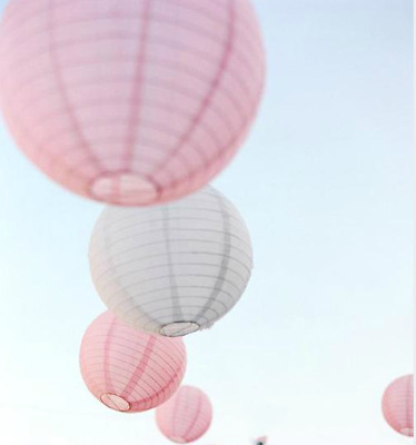 14x 30cm pink white paper lanterns engagement wedding hens party home decoration