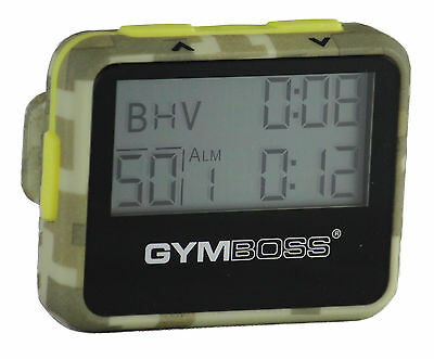 Gymboss Interval Timer And Stopwatch Green Camo / Yellow Softcoat Shipped Fr Uk