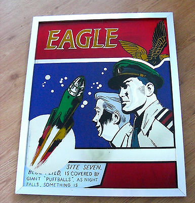 "RARE - GIANT VINTAGE EAGLE/DAN DARE FRAMED MIRROR - 22"" x 18"" - SUPER CONDITION!"