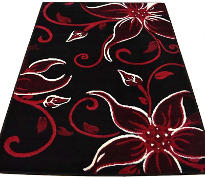 Black Floral Rug Mat Modern Design Lily Lilies Red Soft Smooth Low Pile