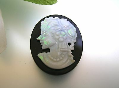 Antique Vintage natural Australian Opal cameo Onyx base handmade excellent fire