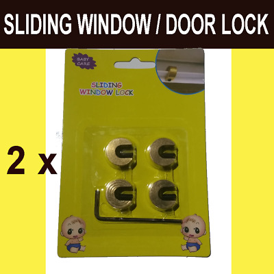 Baby Child Safe Safety Security Sliding Window Door Lock (No-Tool Install) 8pcs