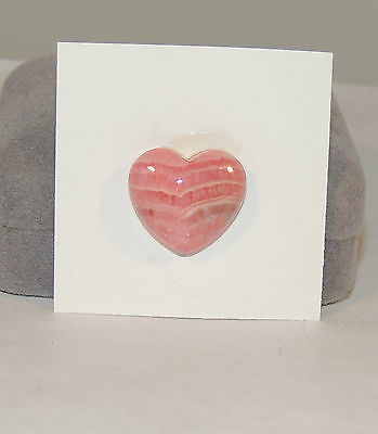 Pink Rhodochrosite Cabochon Heart  17x19mm with 6mm dome (4463)