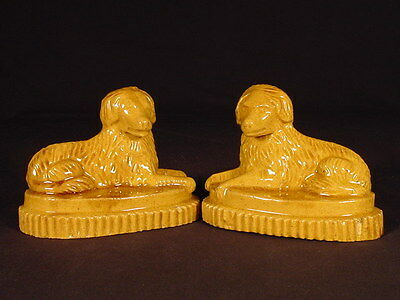 VERY RARE EARLY 1800s MATCHED PAIR OF DOGS FOLK ART YELLOW WARE