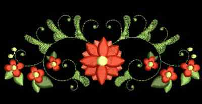 Curly Florals Borders Machine Embroidery Designs CD 4""