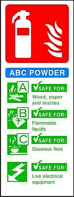 Fire Extinguisher ABC Powder ID warning safety sticker sign self adhesive vinyl