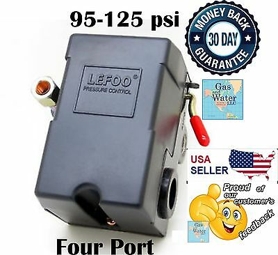 LEFOO Pressure Switch Air Compressor 95-125 psi FOUR 4 PORT adjustable