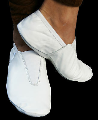 Leather Gymnastic training dance shoes white indoor wear all sizes FREE SHIPPING