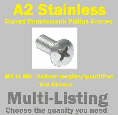 A2 Stainless Philips Raised Countersunk Screws M3 to M6 (multi-listing)