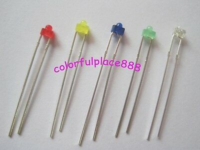 100pcs, 1.8mm Red Yellow Blue Green White Diffused LED Leds Mix Color Resistors