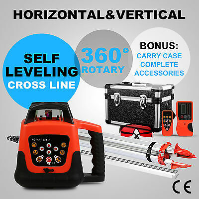 New Self Leveling Red Beam Rotary Rotating Laser Level with Tripod & 5m Staff