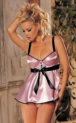Spring Meadow Bridal Satin Babydoll w/ Padded Cup White Pink Camisole Size 6-18