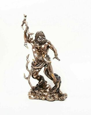 Greek Supreme Thunder God Zeus Olympus Mountain Ruler Figurine Statue Bronzelike