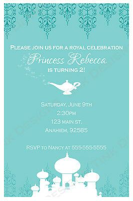 Princess Jasmine Aladdin Invitations Birthday party favors Arabian nights