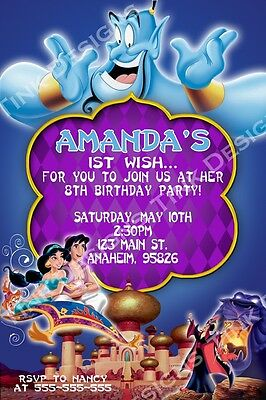 Princess Jasmine Aladdin Invitations party favors Arabian nights Birthday
