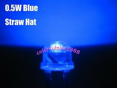 10pcs, 8mm 0.5W Blue Straw Hat High-power Diodes LED Leds Light Lamp StrawHat