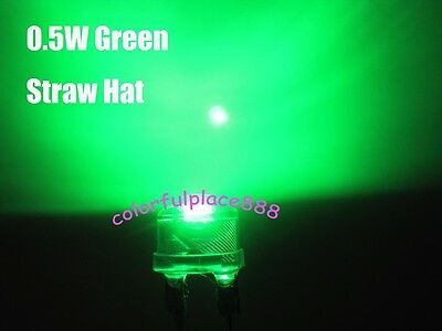 10pcs, 8mm 0.5W Green Straw Hat High-power Diodes LED Leds Light StrawHat Lamp