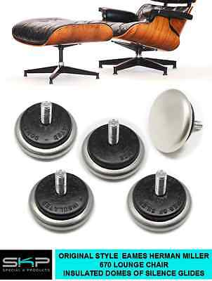 "Cushioned ""Domes Of Silence"" Glides For Eames/ Herman Miller 670 Lounge Chair"