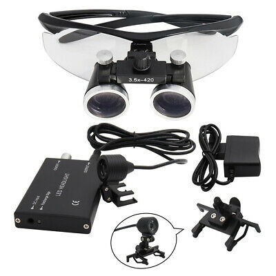3.5X Dental Hygienists Surgical Binocular Loupe Glasses 3W Headlight Lamp Black