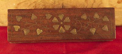 Wooden Storage or Jewelry Box - Inlaid Brass Decorations