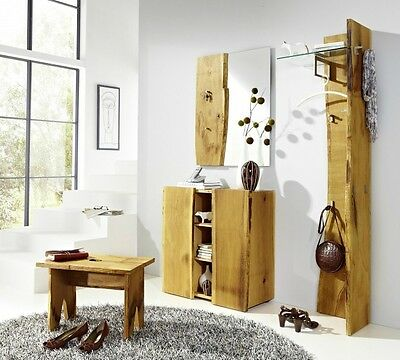 garderoben set spiegel garderobe hocker kommode flur eiche massiv ge lt eur picclick de. Black Bedroom Furniture Sets. Home Design Ideas