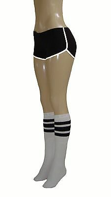 375296e6e5c Black Retro Shorts w White Trim and white kneehigh socks w black stripes  Small