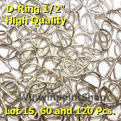 """Lot 15 60 120 Pcs 1/2"""" 0.5 Inch D Ring Webbing Strapping Leather Bag Shirt Craft"""